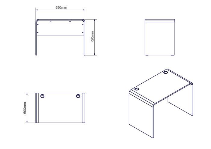biurko 100 - wymiary